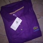 Продам новую футболку  поло на размер Л-ХЛ. Состав ткани : 90 % хлопок и 10 % эластан. Замеры: плечи