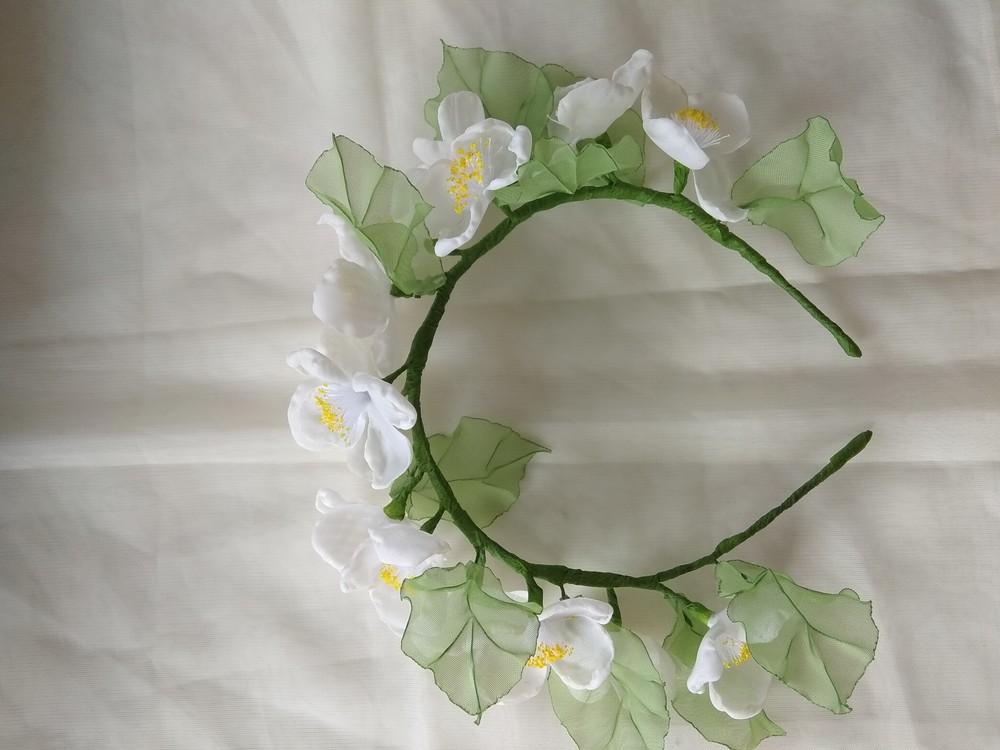 Нежный и красивый обруч с цветами из шифона,  ободок,  веночек фото №3