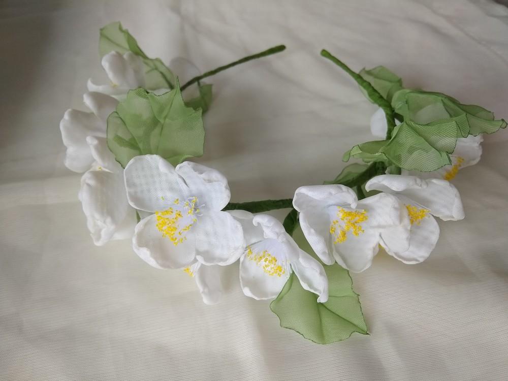 Нежный и красивый обруч с цветами из шифона,  ободок,  веночек фото №4