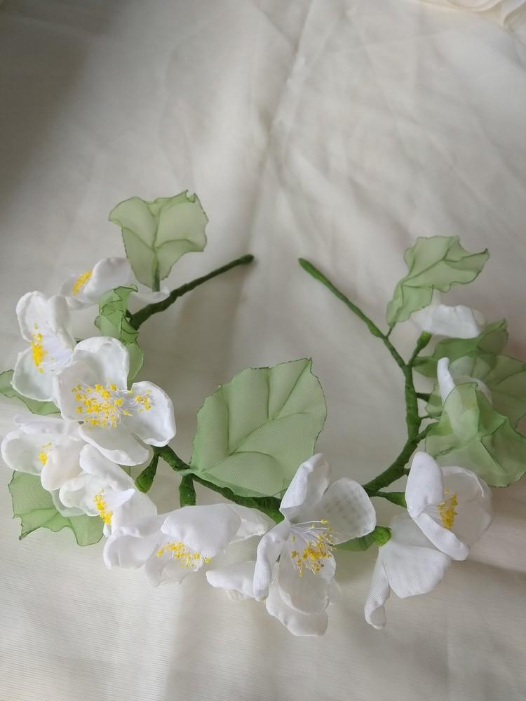 Нежный и красивый обруч с цветами из шифона,  ободок,  веночек фото №6