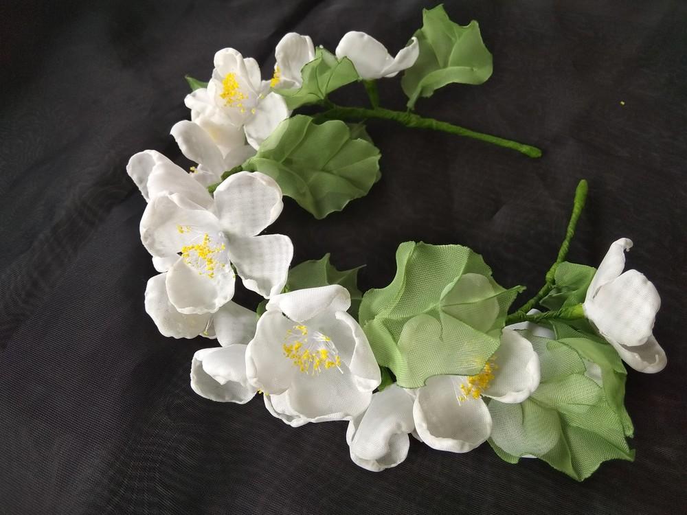Нежный и красивый обруч с цветами из шифона,  ободок,  веночек фото №1