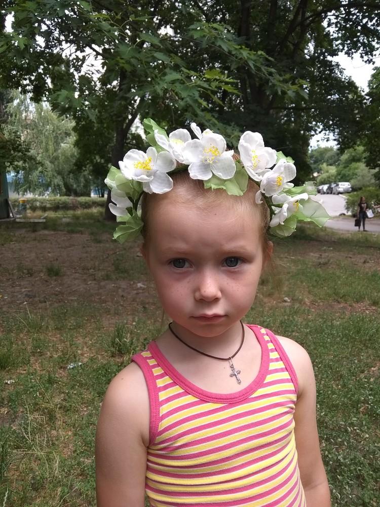 Нежный и красивый обруч с цветами из шифона,  ободок,  веночек фото №7