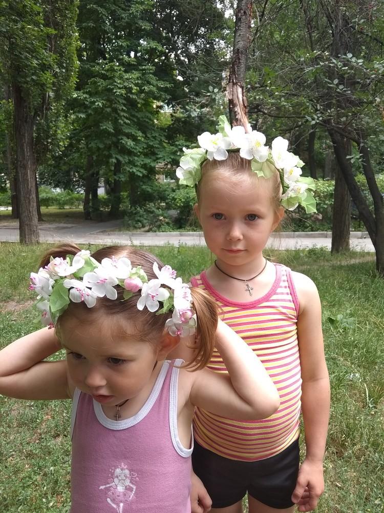 Нежный и красивый обруч с цветами из шифона,  ободок,  веночек фото №8