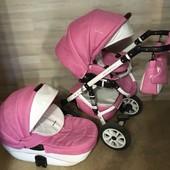 Коляска Riko Brano Ecco 2в1 для девочки, детская, люлька, прогулочный, розовая, рико, брано, экко