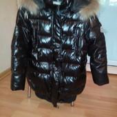 зимняя удлиненная куртка р 116-122 . пух белой утки