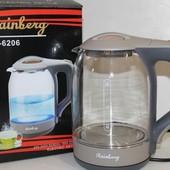 Электрочайник стекло Rainberg Германия led подсветка чайник 2200Вт