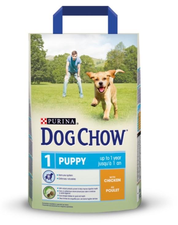Сухой корм для щенков всех пород dog chow puppy chicken 2,5 кг (курица) фото №1