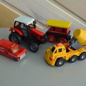 Машинки трактор вагончик бетономешалка набор спецтехника