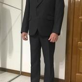 Мужской классический деловой костюм, тройка, темно-серый, полоска М