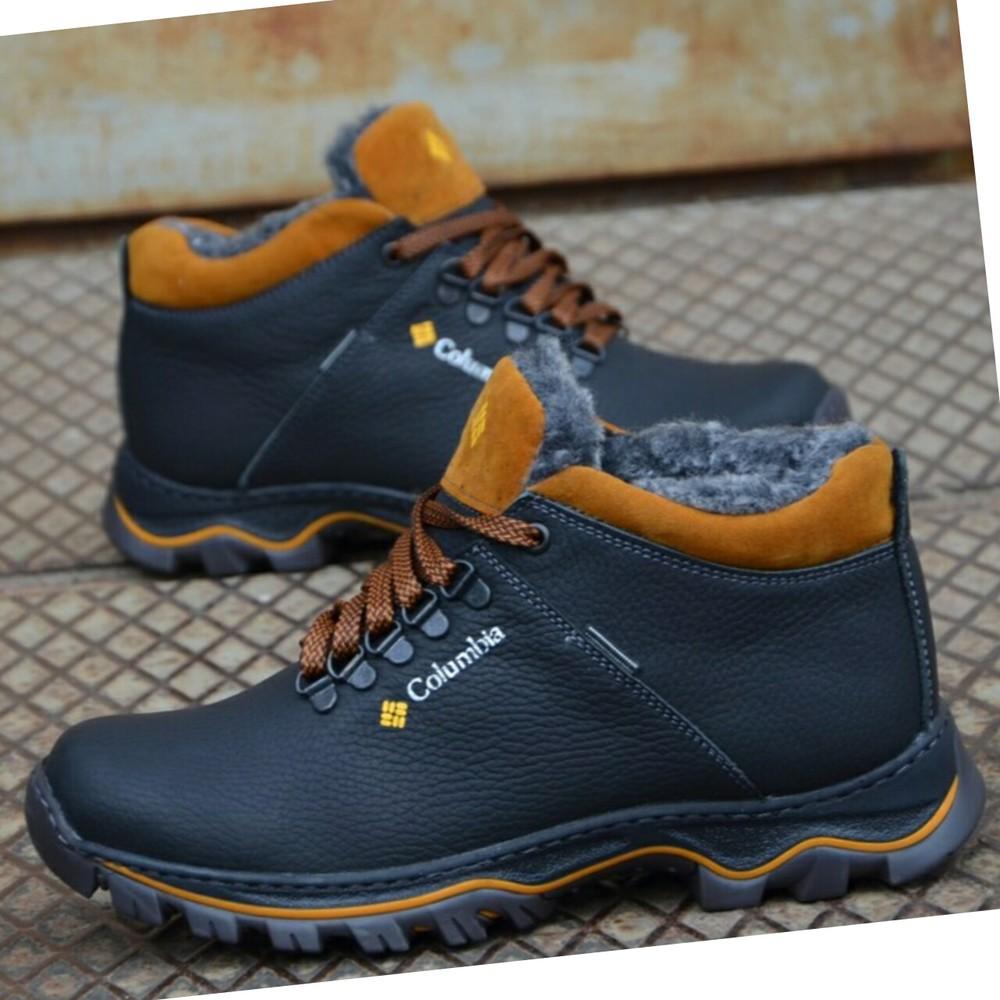 Зимние кожаные ботинки мужские фото №1