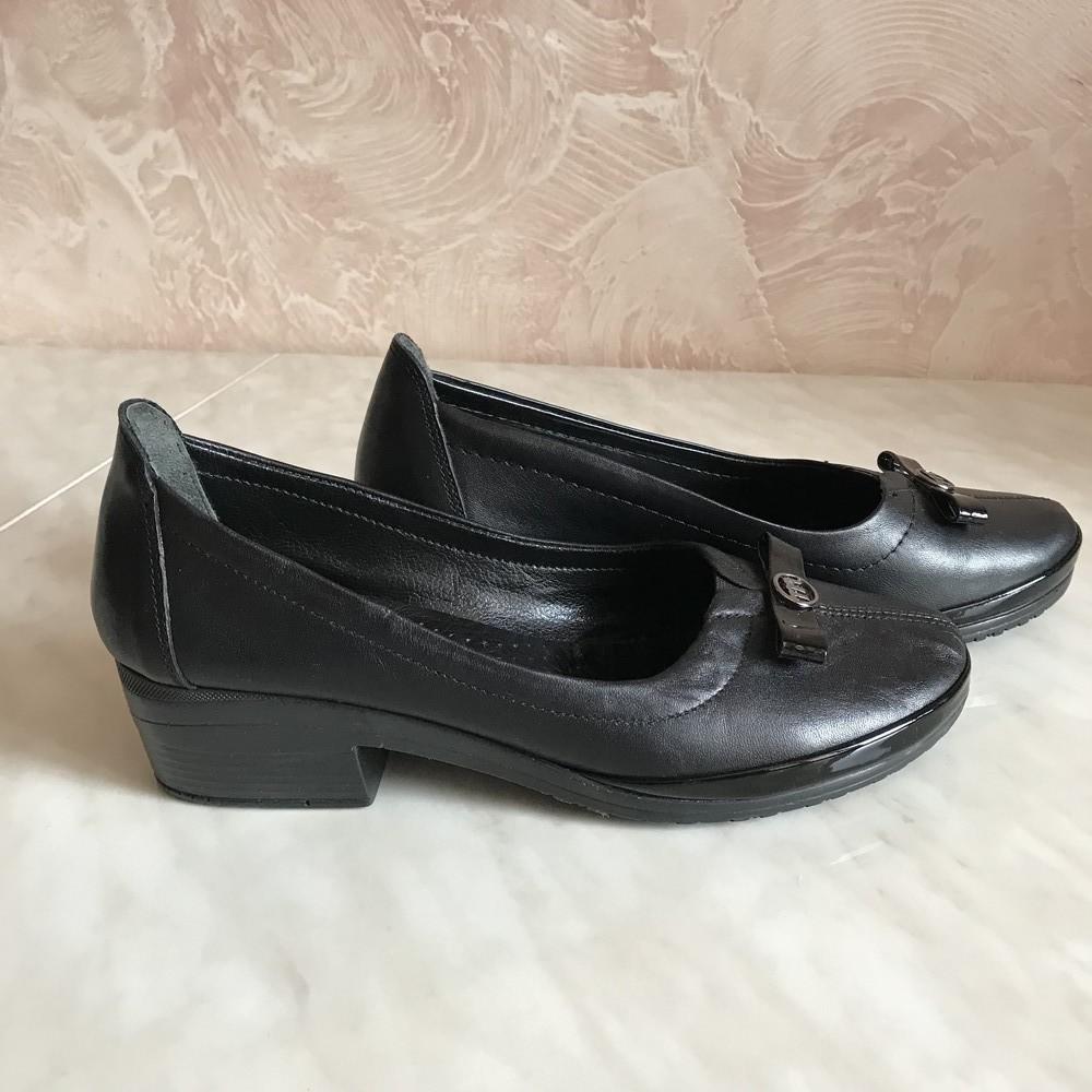 Классические туфли балетки на каблучке missy 37 р. турция фото №1