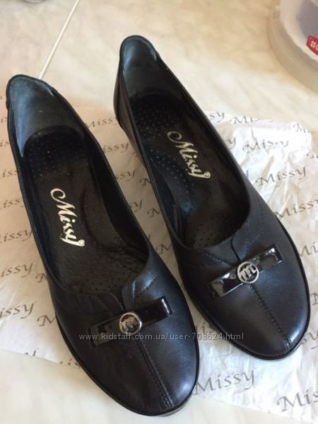 Классические туфли балетки на каблучке missy 37 р. турция фото №2