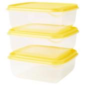 Контейнер, прозрачный, желтый, 0.6 л, з шт., 903.358.43 Pruta, Прута Икеа Ikea В наличии