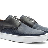 Синие туфли на белой подошве, мужские BFG Moda.shoes- 013. фирменная Турция