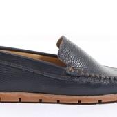 Кожаные синие мокасины на рифленной подошве BFG Moda.shoes- 002. фирменная Турция