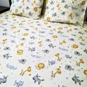 Теплая детская расцветка! Простыня в детскую кроватку 110*150 см