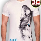 Футболка мужская, Волк, рисунок 3D