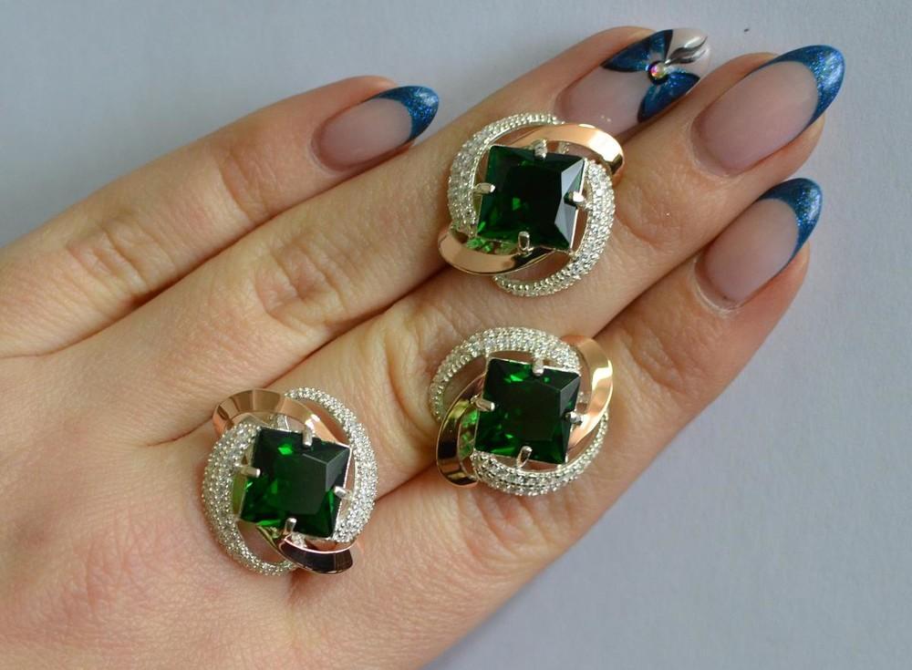 Сережки с кольцом серебряные с золотом и фианитами 130 фото №1