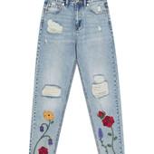 Шикарные джинсы Mom fit с вышивкой Pull&Bear, 36, 38, 40р, Испания