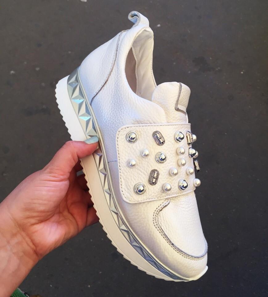 Стильные кроссовки на липучке натуральная кожа фото №1