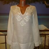Рубашка-туника из тонкого льна, с вышивкой р.8 Street one