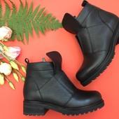 Кожаные женские ботинки, осень/зима