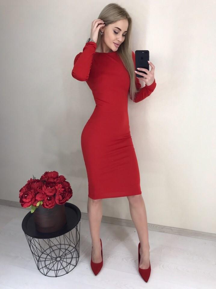 Стильное классическое платье футляр по колено (40-52рр) ассортимент цветов фото №1