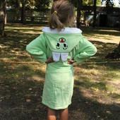 Детский махровый халат Зайчик 1-12 лет ОПТ и розница зеленый