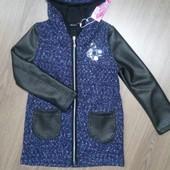 Теплый кардиган пальто для девочки в ассортименте 122-152