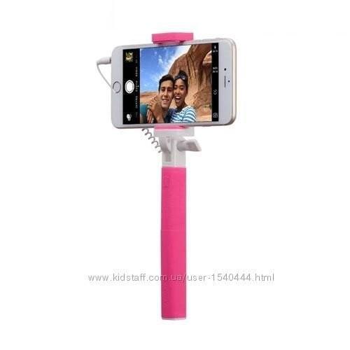 Селфи-палка, монопод momax selfie mini mini 17cm pink фото №1