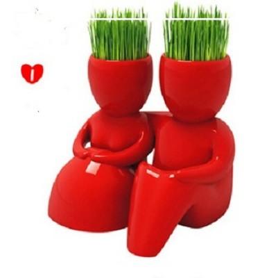 Травянчик керамический красный с семенами фото №1