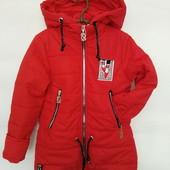 Качественная яркая осенняя (весенняя) куртка для девочки, р. 140 и 146, код - Леди