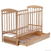 """Кроватка деревянная маятник+шухляда """"Наталка"""" светлый ясень"""