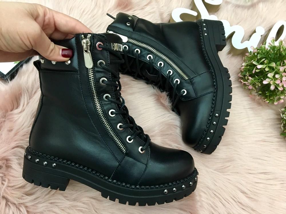Кожаные женские ботинки, черные фото №1