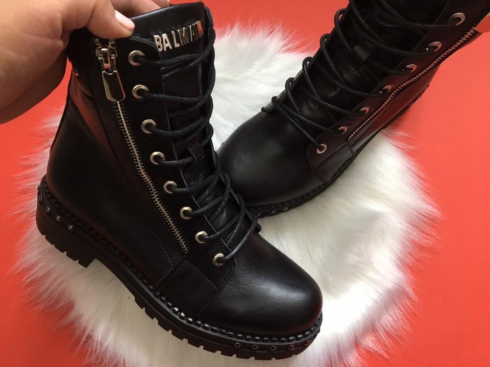 Скидка кожаные женские ботинки, черные, зима/осень фото №2