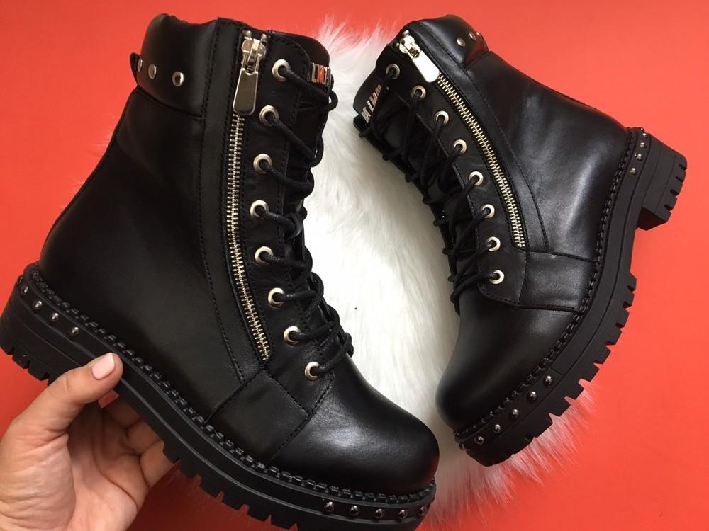 Скидка кожаные женские ботинки, черные, зима/осень фото №6