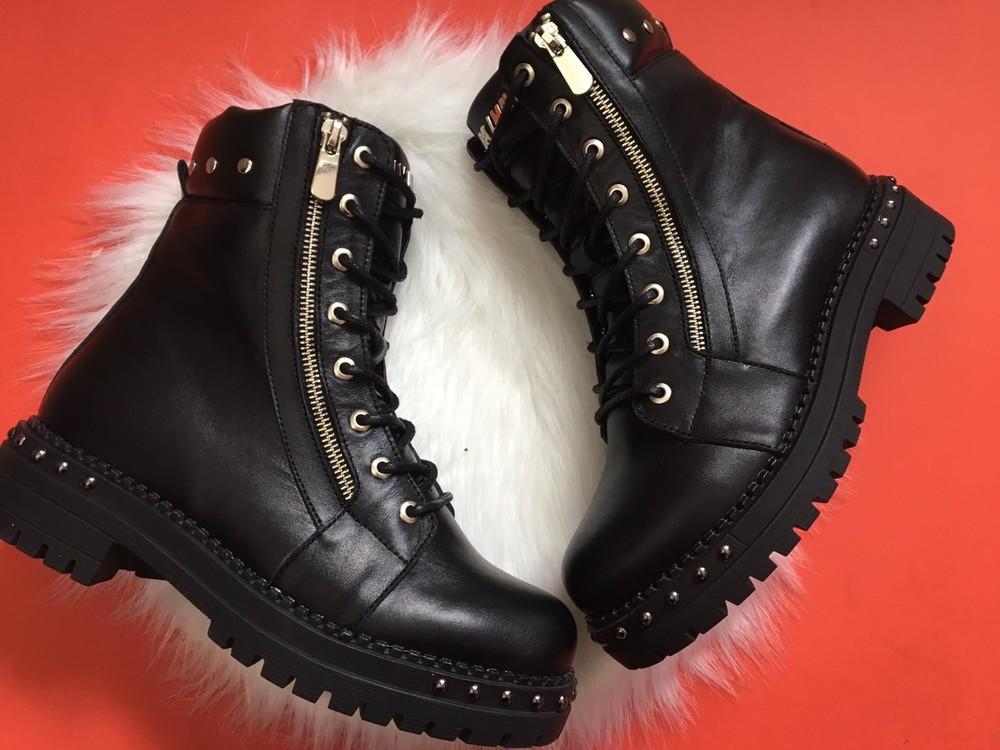 Скидка кожаные женские ботинки, черные, зима/осень фото №8