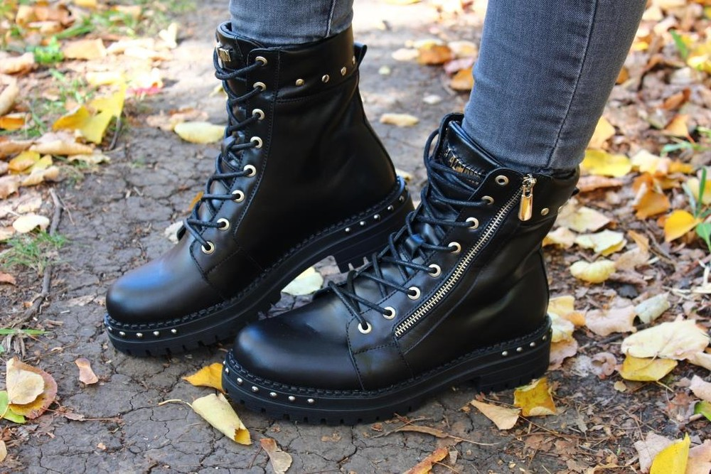 Скидка кожаные женские ботинки, черные, зима/осень фото №3