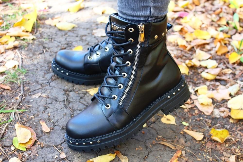Скидка кожаные женские ботинки, черные, зима/осень фото №4