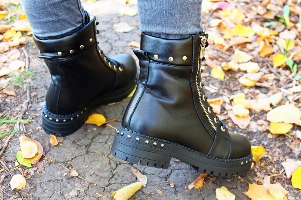 Скидка кожаные женские ботинки, черные, зима/осень фото №5