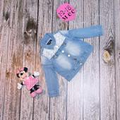 Джинсовый пиджак Denim &Co для девочки 12-18 месяцев, 86 см