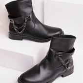 Женские демисезонные ботинки на низком каблуке