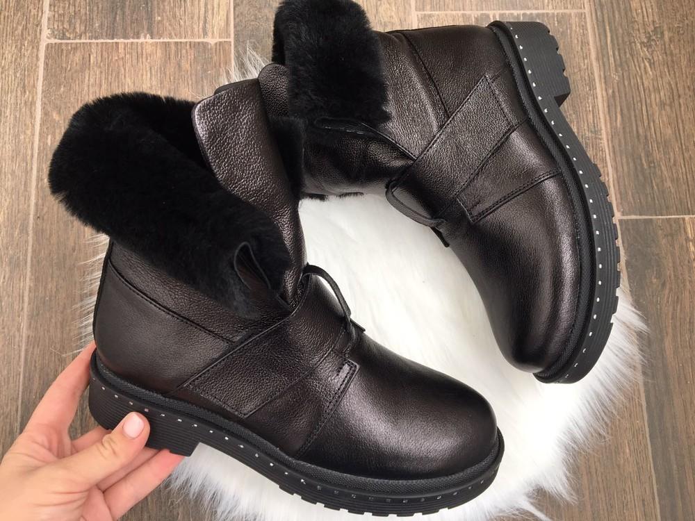 Скидка зимние женские кожаные ботинки с324 фото №4