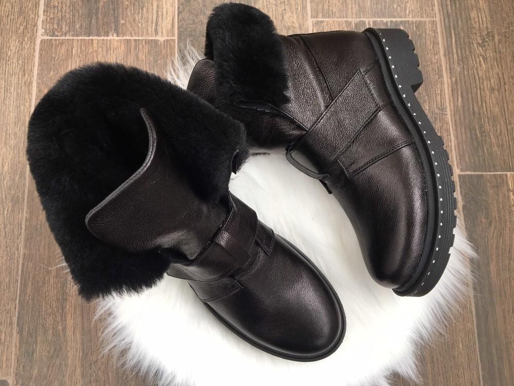Скидка зимние женские кожаные ботинки с324 фото №5