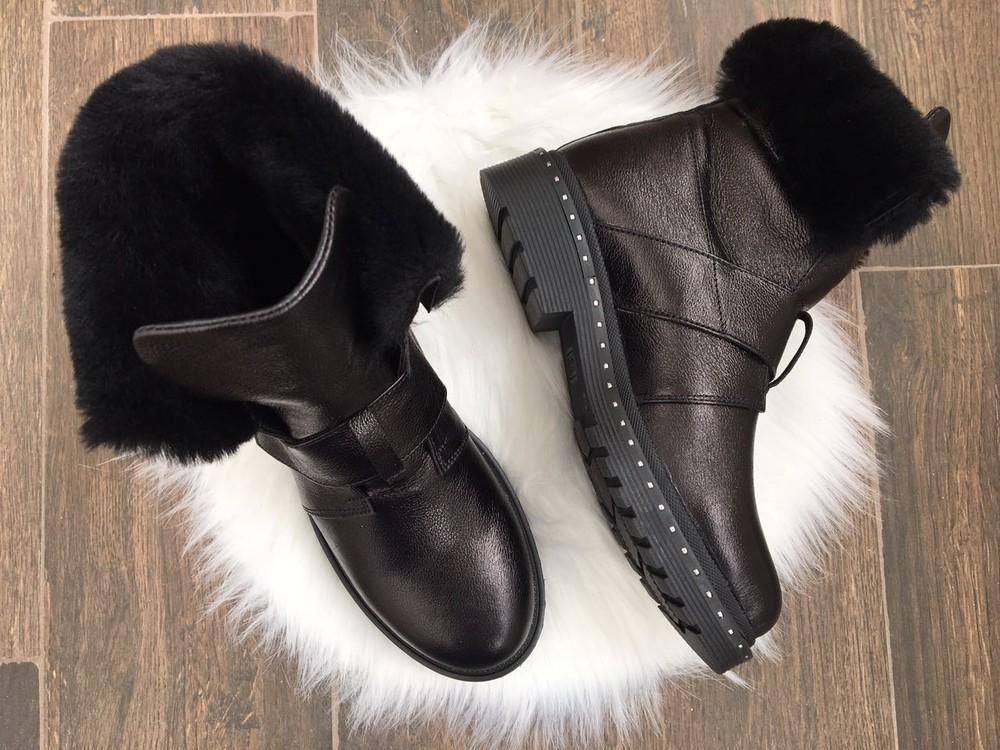 Скидка зимние женские кожаные ботинки с324 фото №6