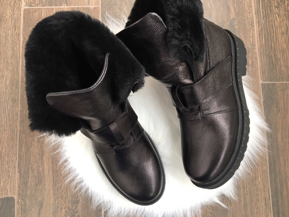Скидка зимние женские кожаные ботинки с324 фото №7