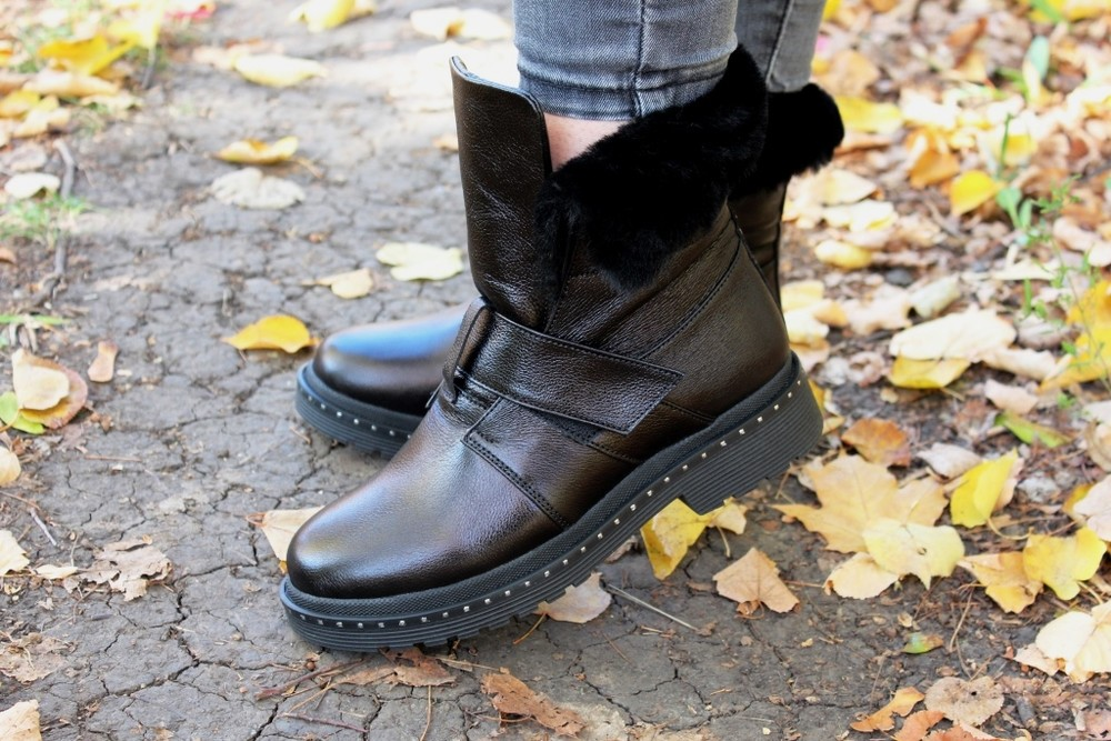 Скидка зимние женские кожаные ботинки с324 фото №2