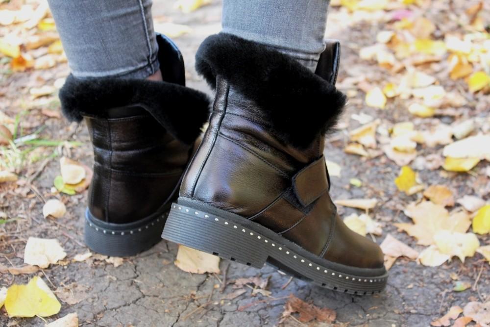 Скидка зимние женские кожаные ботинки с324 фото №3
