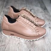 Элегантные утепленные Casual кроссовки Rich л4285 пудра-ваниль