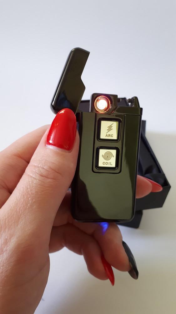 Подарок двухрежимная электроимпульсная и usb юсб зажигалка с сенсорной кнопкой фото №1